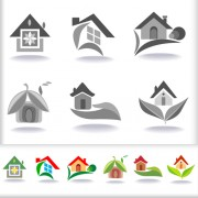 Link toLeaf with home abstract icons vector 02 free