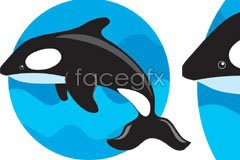 Link tovector background sea and whales Leaping