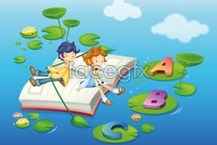 Link toLearning theme children's cartoon vector illustration