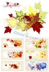 Link toLeaves and flowers banner vector