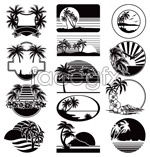 Link toLeisure beach-silhouette tag vector