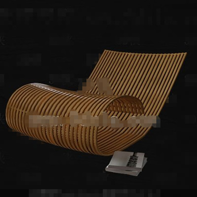 Link toLeisure yellow bamboo single sofa 3d model