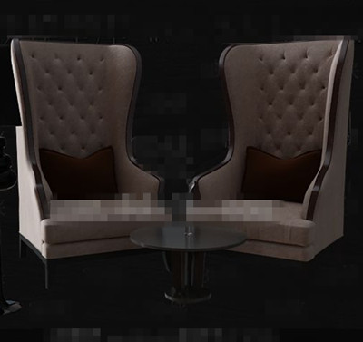 Link toLight brown european single sofa chairs 3d model