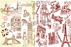 Link toLine doodle historical sites in paris and london, vector