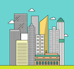 Link toLine urban buildings vector