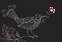 Link toLine version of birds and flowers vector