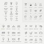 Link toLinear travel icons vector