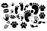Link toLipstick prints handprint footprint vector