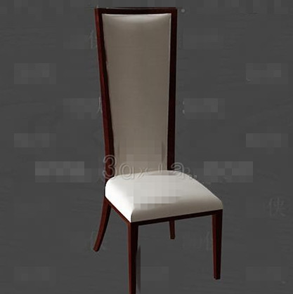 Link toLong white cushion wooden chair 3d model