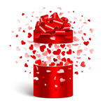 Love and red gift box vector