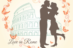 Link toLove in rome, vector illustration