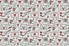 Link toLove letters paper plane seamless vector background