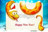 Link toLovely christmas cartoon snake, vector