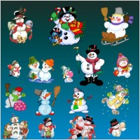 Link toLovely christmas snowman set psd layered