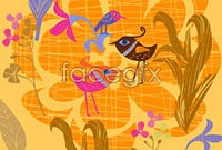 Link toLovely hand-painted flowers birds vector iv