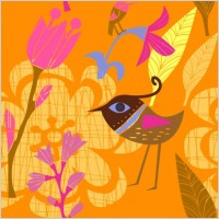 Link toLovely handpainted flowers birds vector 3
