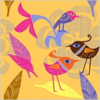 Link toLovely handpainted flowers birds vector 4