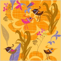 Link toLovely handpainted flowers birds vector 5