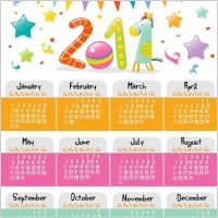 Link toLovely style calendar for 2011 vector graphic