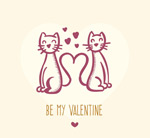 Link toLoving couple hand-painted cat vector