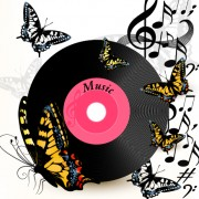Link toLp with music vector background 03 free