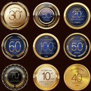 Link toLuxury anniversary glass texture labels vector free