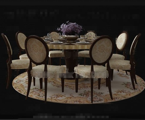 Link toLuxury wooden dining table combination 3d model