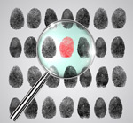 Magnifying glasses and fingerprint vector