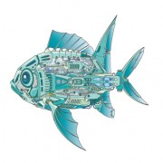 Mechanical fish creative design vector free