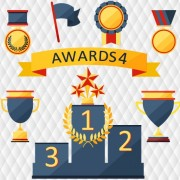 Link toMedals with cup and awards elements vector set 01 free