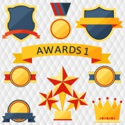 Link toMedals with cup and awards elements vector set 04 free