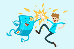 Link toMen, exchanged high-fives and bank card vector