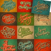 Link toMerry christmas calligraphic typographic vector template 02