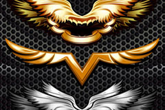 Metallic wings pattern vector