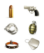 Military equipment icons vector