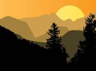 Link toMountain sunset vector free