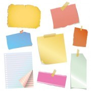 Link toMulticolor message paper and clip vector 01
