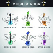 Link toMusic rock elements icons vector