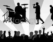 Link toMusic to the performances with enthusiastic spectators silhouettes vector
