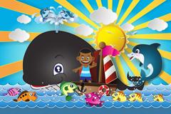 Link toNavigational child and fish cartoon vector