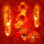 New year's firecrackers lanterns vector