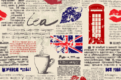 Link toNewspaper style united kingdom elements seamless vector background