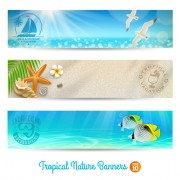 Link toOcean with beach holiday banner vector free