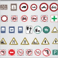 Link toOld traffic signs icon 01 vector