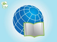 Link toOpen book and globe vector free