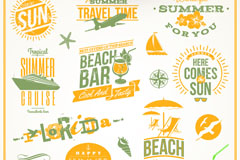 Link toOrange beach vacation tag vector