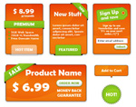 Orange decorative labels
