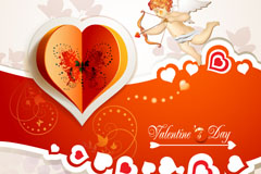 Link toOrigami love cupid background vector