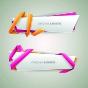 Link toOrigami with color ribbon banner vector 02