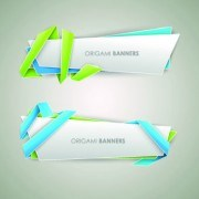Link toOrigami with color ribbon banner vector 05